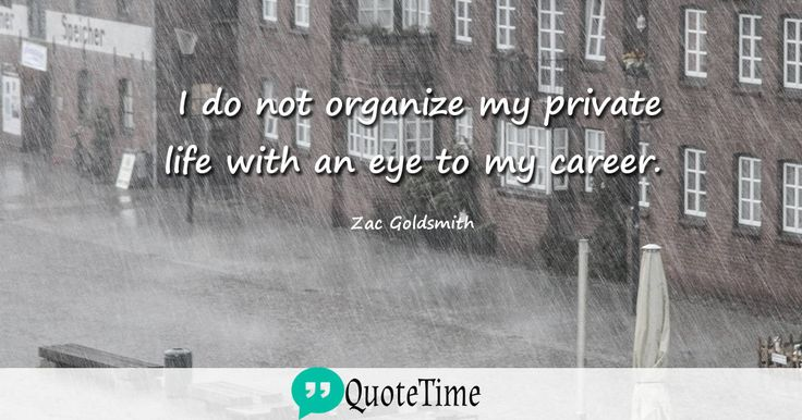 I do not organize my private life with an eye to my career. - Zac Goldsmith #QuoteTime #Quote #QuoteOfTheDay