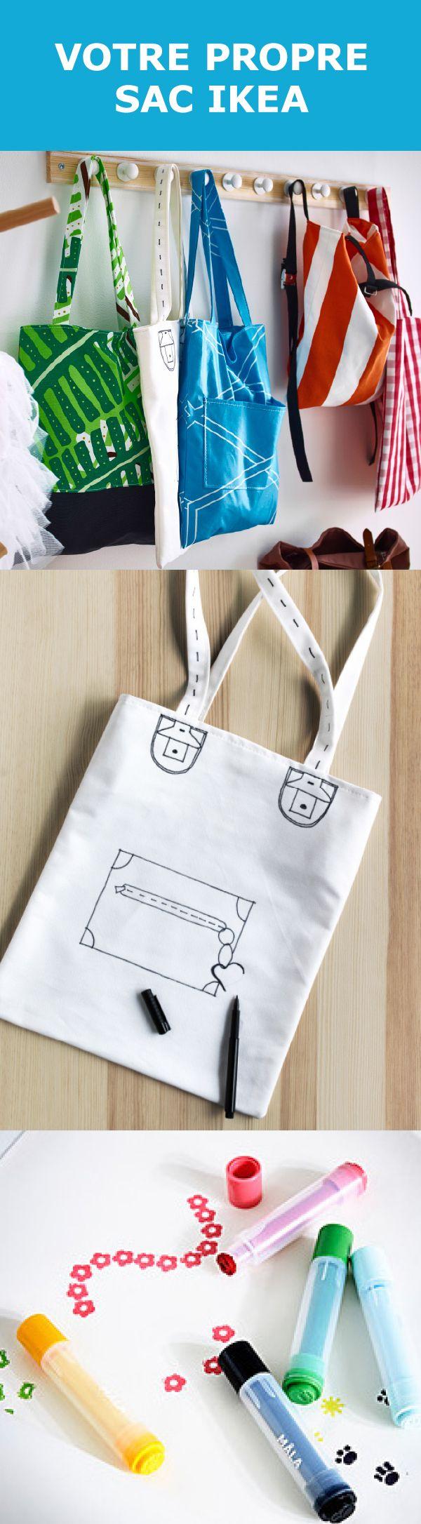 À faire soi-même : un sac génial. Matériel requis : tissus IKEA. Touche personnelle : jolis dessins au marqueur ou au tampon textile.