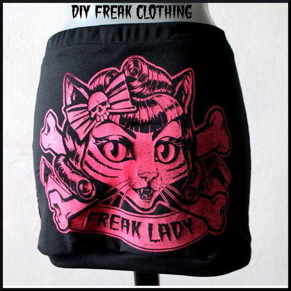 Gonna Leopardata Rosa Fuxia Stampa gatto di FreakClothingOutlet