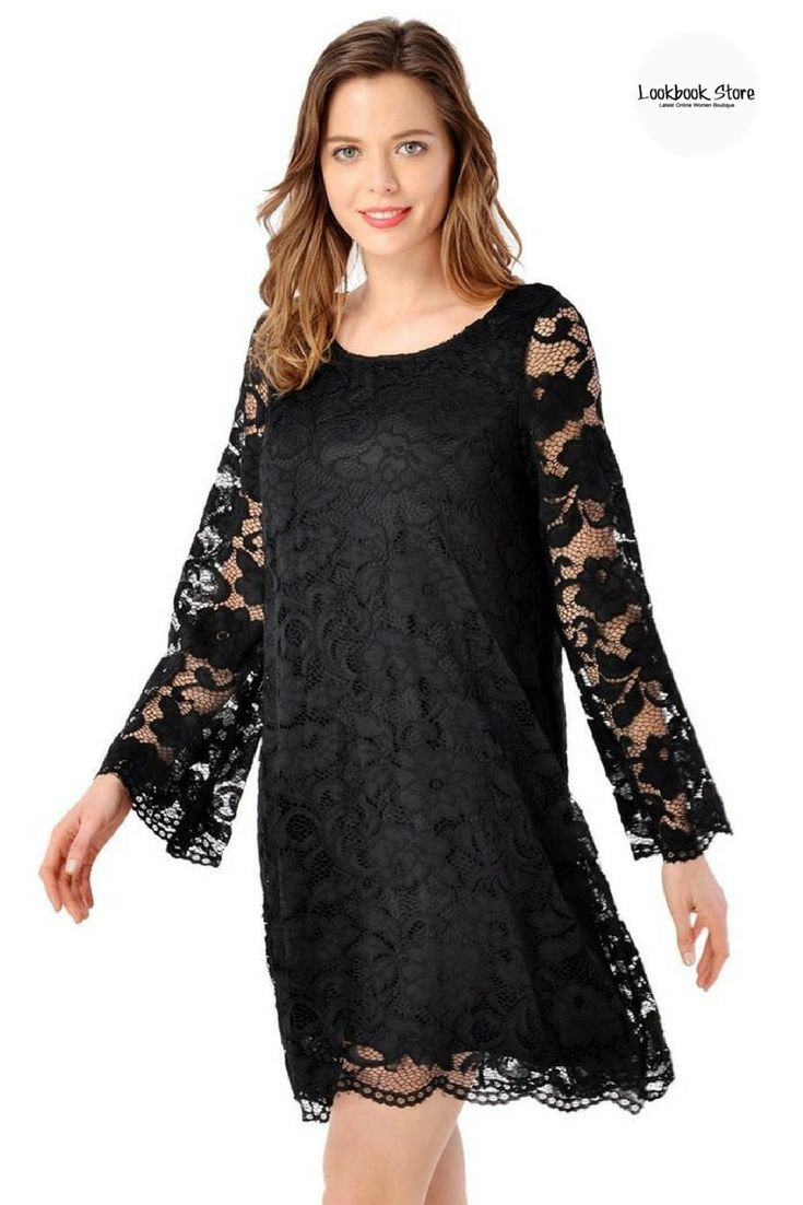 Black dress with red lipstick - Black Lace Overlay Flare Sleeves Shift Dress Red Lipstickslace