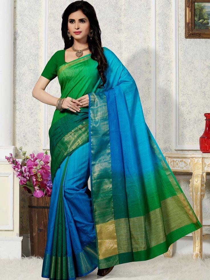 Graceful green, blue, teal blue color art silk saree having self weaving work. Item code: SUM1067 Shop more: http://www.bharatplaza.com/women/sarees.html.