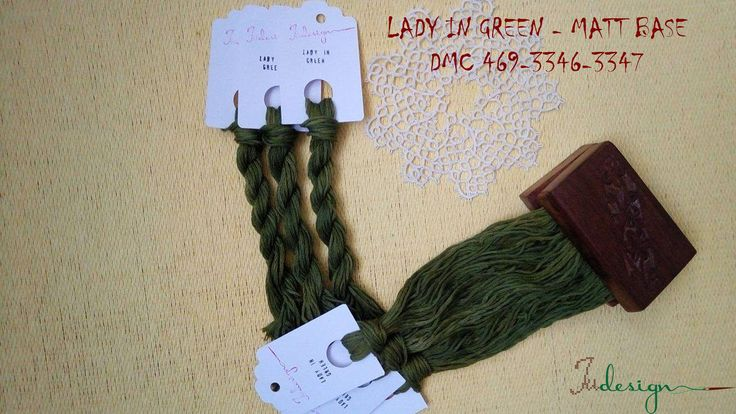 Hand painted matt cotton floss LADY IN GREEN hand dyed thread for embroidery, cross stitch, punto cruz, point de croix, blackwork by xJudesign on Etsy