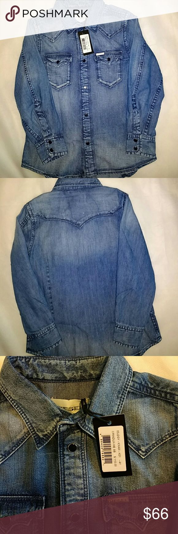 Diesel denim shirt girls 4years Must have piece in the closet denim diesel shirt girls 4years can be paired with black leggings. Diesel Shirts & Tops Button Down Shirts