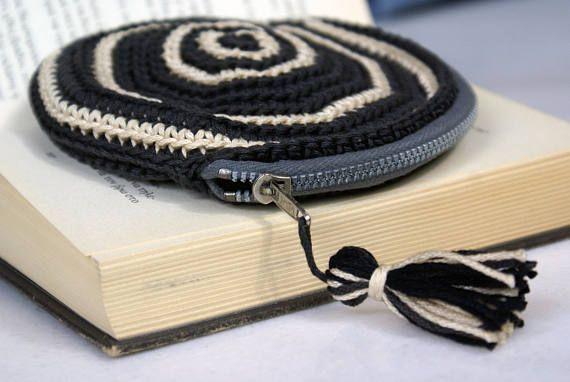 Crochet Zipper Coin Purse Round Handmade Wayuu Crochet Wallet