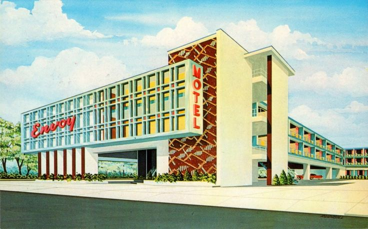 Envoy Motel, Atlantic City — Via neat-stuff-blog.blogspot.com  Read more at: http://www.ultraswank.net/architecture/stylish-mid-century-hotels-motels/  Stylish Mid-Century Hotels & Motels