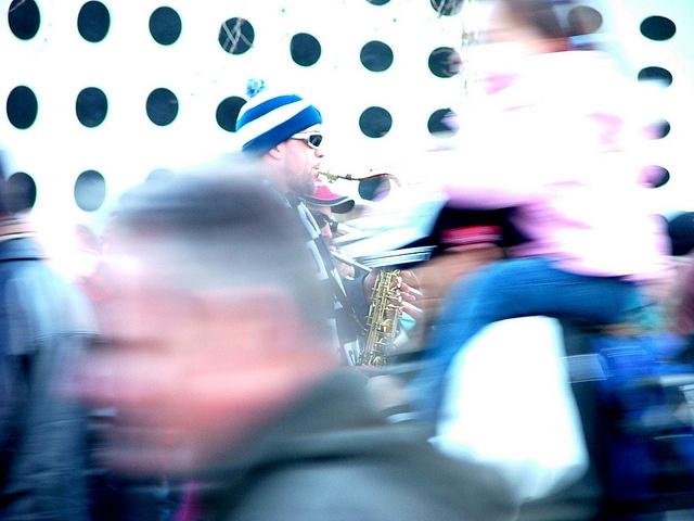 Saxophone player near the Melbourne Cricket Ground.