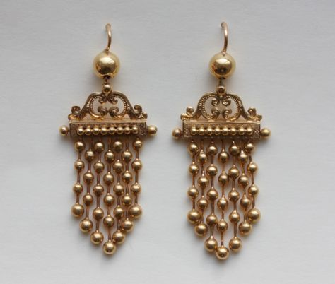 A pair of 18 carat gold fringe earrings, Napoleon III, France, circa 1860.