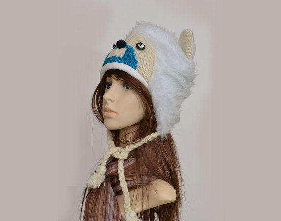 Yeti animal hat   warm hat  knit hat  beanie by HatsMittensEtc