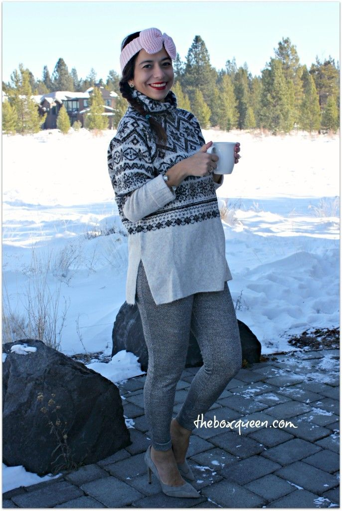How to Wear Sparkly Leggings, Sparkly Legging Winter Sweater Combo