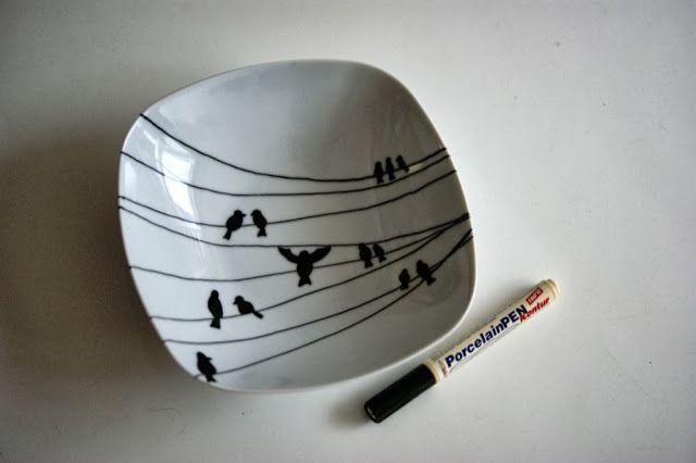 Birds on a wire - porcelain pen.