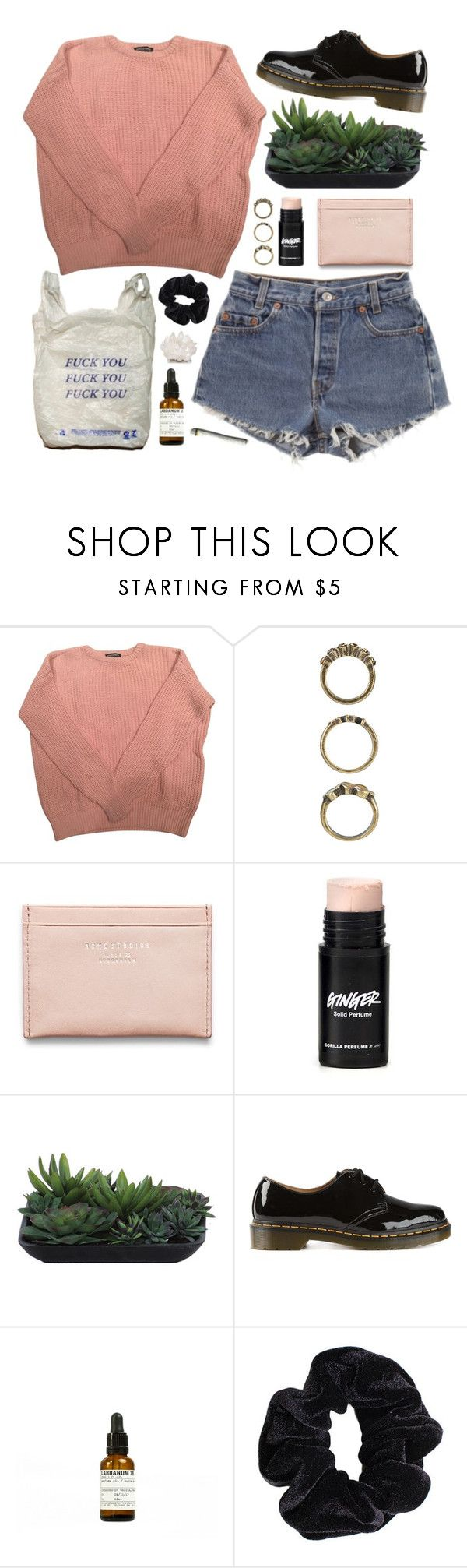 """YOU'RE AN ENERGY VOID"" by little-wild ❤ liked on Polyvore featuring American Apparel, Forever 21, Levi's, Acne Studios, Lux-Art Silks, Dr. Martens, Le Labo and Kathryn McCoy Design"