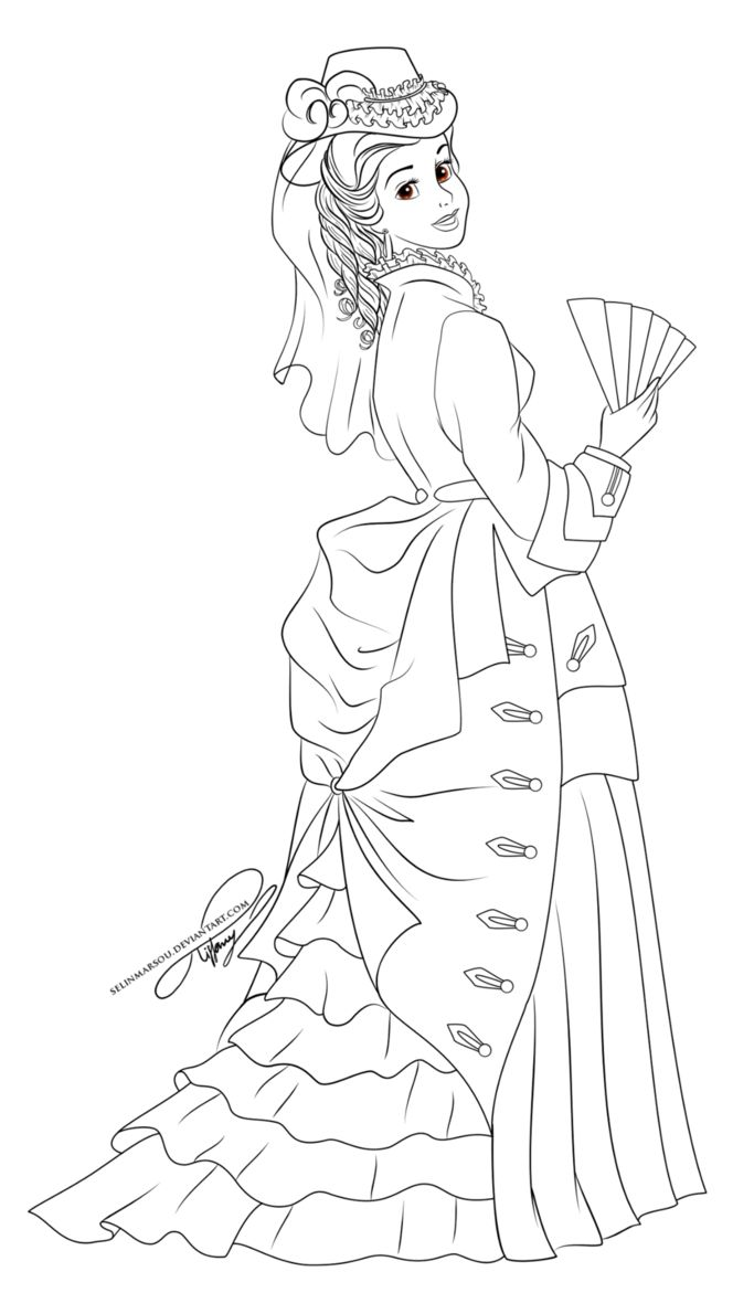 from disney coloring pages lineart vintage princess belle by selinmarsou on deviantart - Belle Pictures To Color