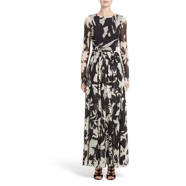 FUZZI Bicolor Floral Print Tulle Maxi Dress ($533) ❤ liked on Polyvore featuring dresses, white maxi dress, floral maxi dress, floral dresses, slit maxi dresses and front slit dress