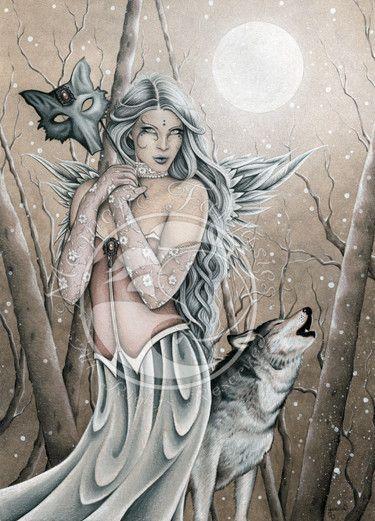 Jessica Galbreth Winter Wood Fairy & Wolf 5x7 Art Magnet Print