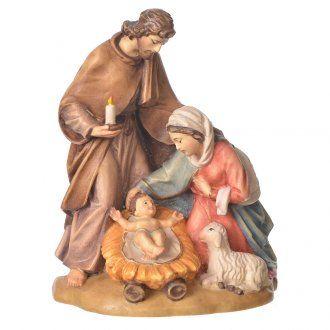 Sacra Famiglia con pecora legno Valgardena dipinto | vendita online su HOLYART