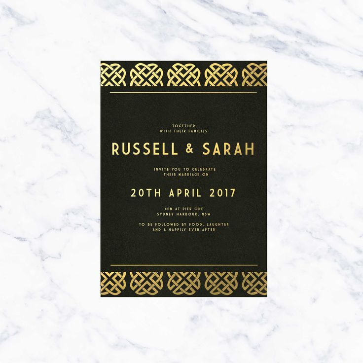 wedding invitations online au%0A Art Deco Black  u     Gold Foil Wedding Invitations