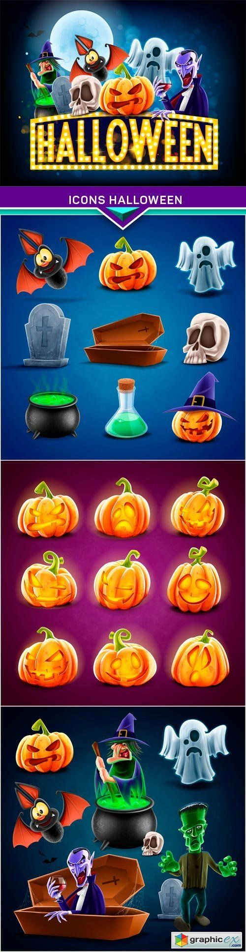 Icons halloween 4X EPS  stock images