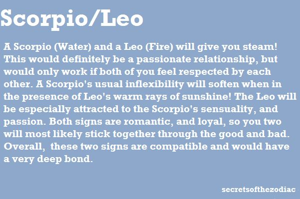 Leo and Scorpio... So TRUE. Romance is a huge part of our relationship.