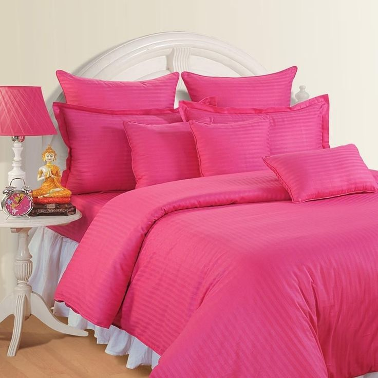 QUEEN HOT PINK STRIPE SHEET SET 100% EGYPTIAN COTTON 4 PIECE SET #Scala
