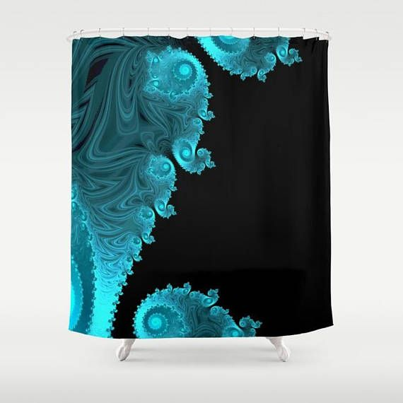 Black Aqua Turquoise Shower Curtain Mandelbrot Trippy Shower Curtain Sacred Geometry Inf Black Shower Curtains