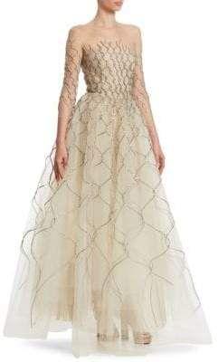 5d4e8f467566d Oscar de la Renta Metallic-Embroidered Illusion Gown#affiliatelink ...