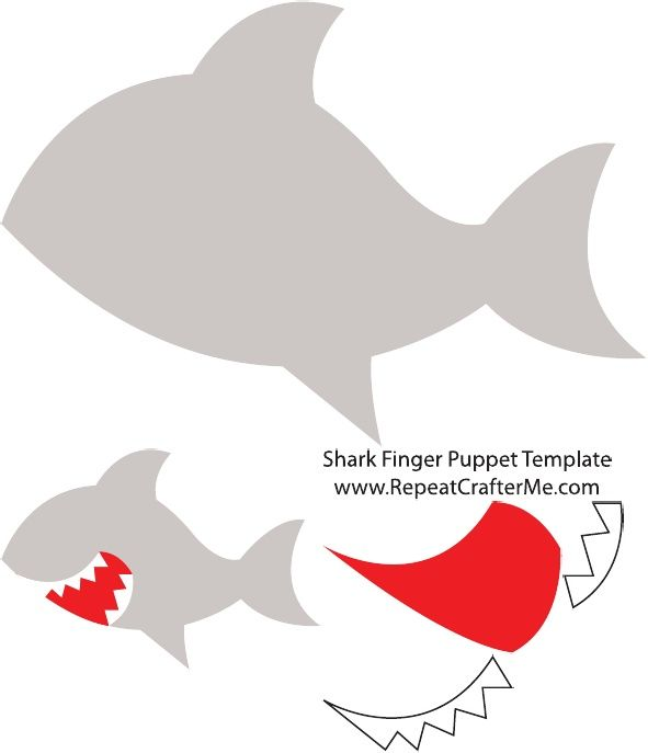 Shark Finger Puppet Template