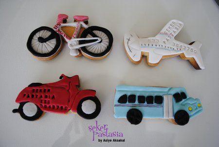 Bisiklet, Motosiklet, Uçak, Otobüs Kurabiye