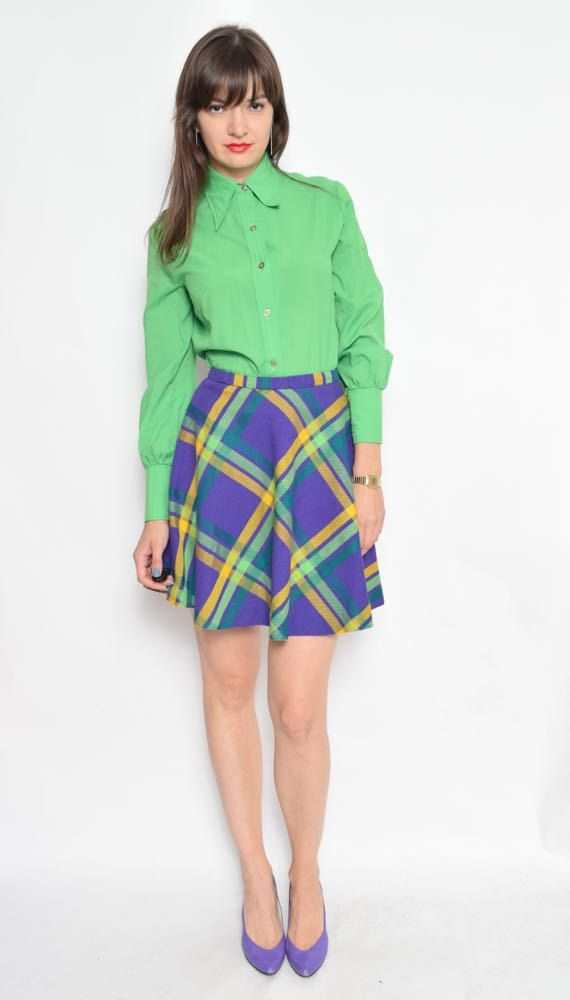 Vintage jaren 70 groene knop Shirt / lange mouwen knop Blouse