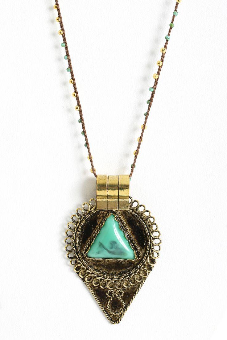 Native Gem Green Agate Aztec Pendant Necklace | South Moon Under