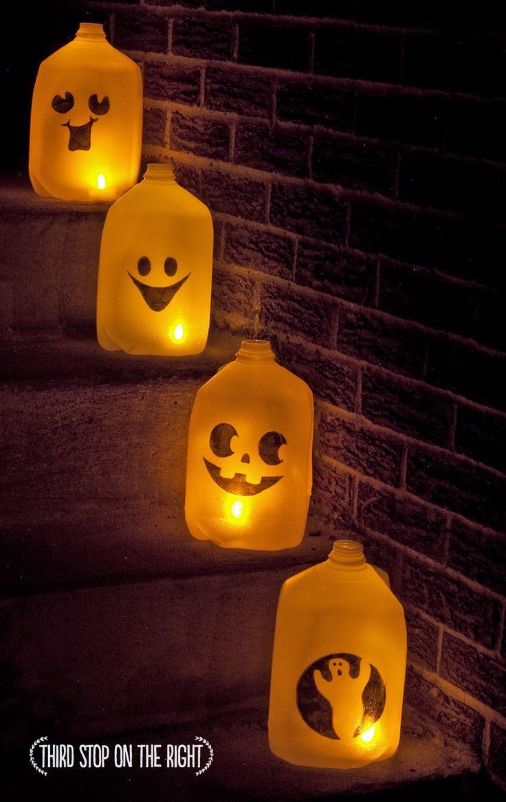 Milk Carton Halloween Crafts Part - 16: Quick, Inexpensive DIY Halloween Ghost Luminaries