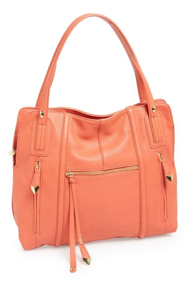 Cute coral leather tote for work.