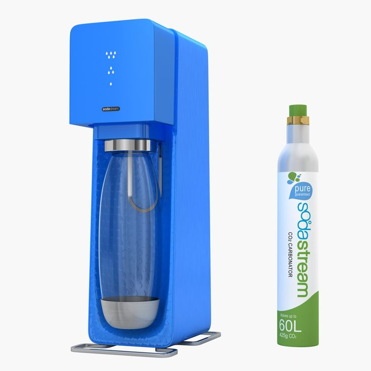 Sodastream Source Blue   Detailed Siphone Bottle Home Soda Maker Sodastream Water CO2 Source Blue Carbonation Carbonater Drink Kitchenware Cookware Kitchen  Modeling: 3ds Max 2009 Rendering: V-Ray 2.0 Polygons: 6 877 Vertices: 7 171