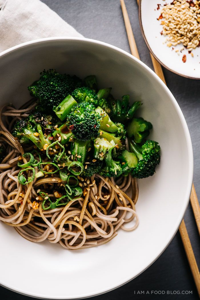 Broccoli soba bowl: pan roasted broccoli with soba tossed with a soy rice vinaigrette. Fast, fresh, and easy.
