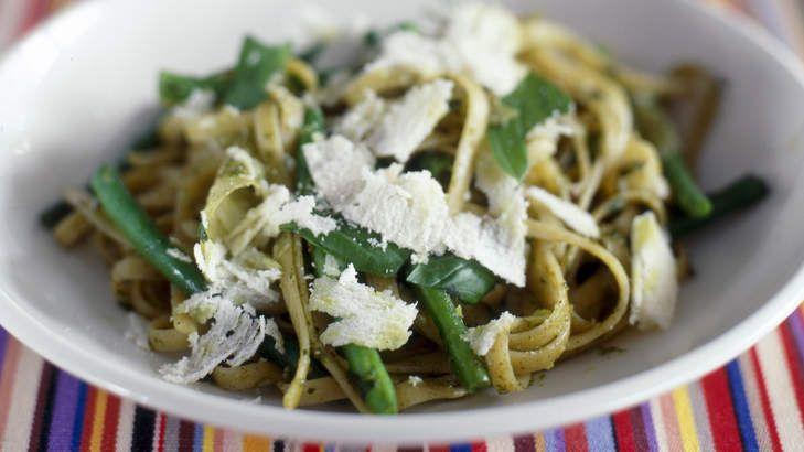 Pesto tagliatelle with green beans by Luke Mangan - a pasta dish that you can whip in under 30 minutes.