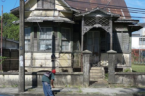 L1001884 old wooden gingerbread house carlos street woodbrook port of spain trinidad caribbean