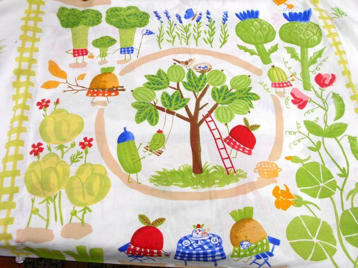 Animated Veggie Print Fabric, Charlotte Ramel for Ikea Fabric, 1 yd Cotton, Home Decor Fabric at StitchKnit on Etsy