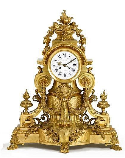 Fine French gilt bronze mantle clock, veuve raulin bigot & c