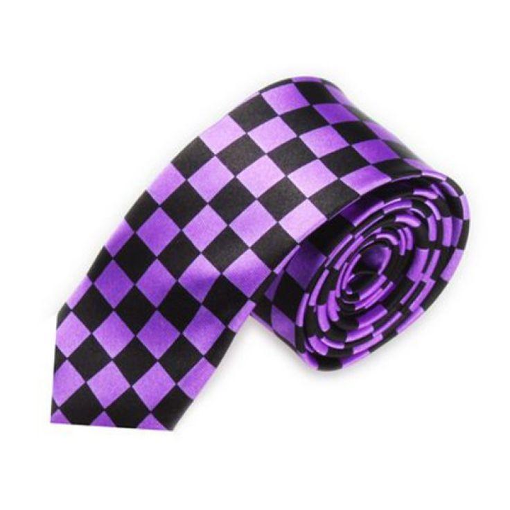 Галстук узкий фиолетовый в квадрат - купить в Киеве и Украине по недорогой цене, интернет-магазин
