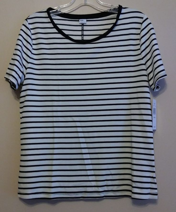 Three Dots CX1175 Nautical Ponte Stripe Short Sleeve Tee Womens Size L | Clothing, Shoes & Accessories, Women's Clothing, Tops & Blouses | eBay!