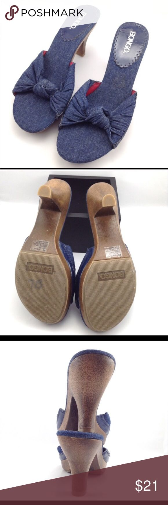 """BONGO knottted denim heels EUC!! BONGO Lake View style. No blemishes! Cute denim uppers and sole with faux wooden 3"""" heels. BONGO Shoes Heels"""