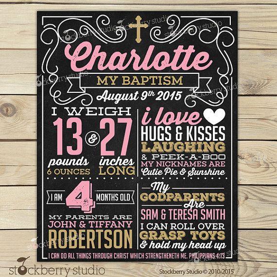 Girl Baptism Chalkboard Poster Printable Pink and Gold by stockberrystudio