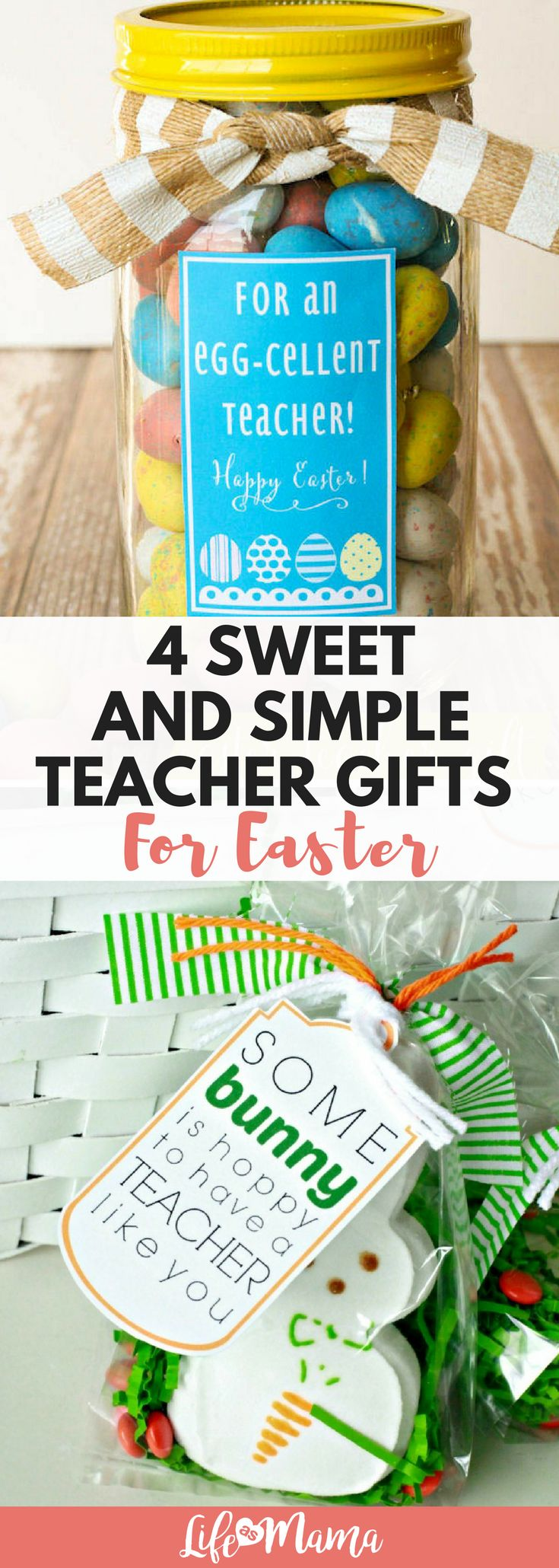 Great teacher gifts for Easter! Simple candy treats to show your appreciation. #teachergifts #teacherappreciation #easter #eastergifts #DIY #crafts #teachercrafts #giftsforeaster