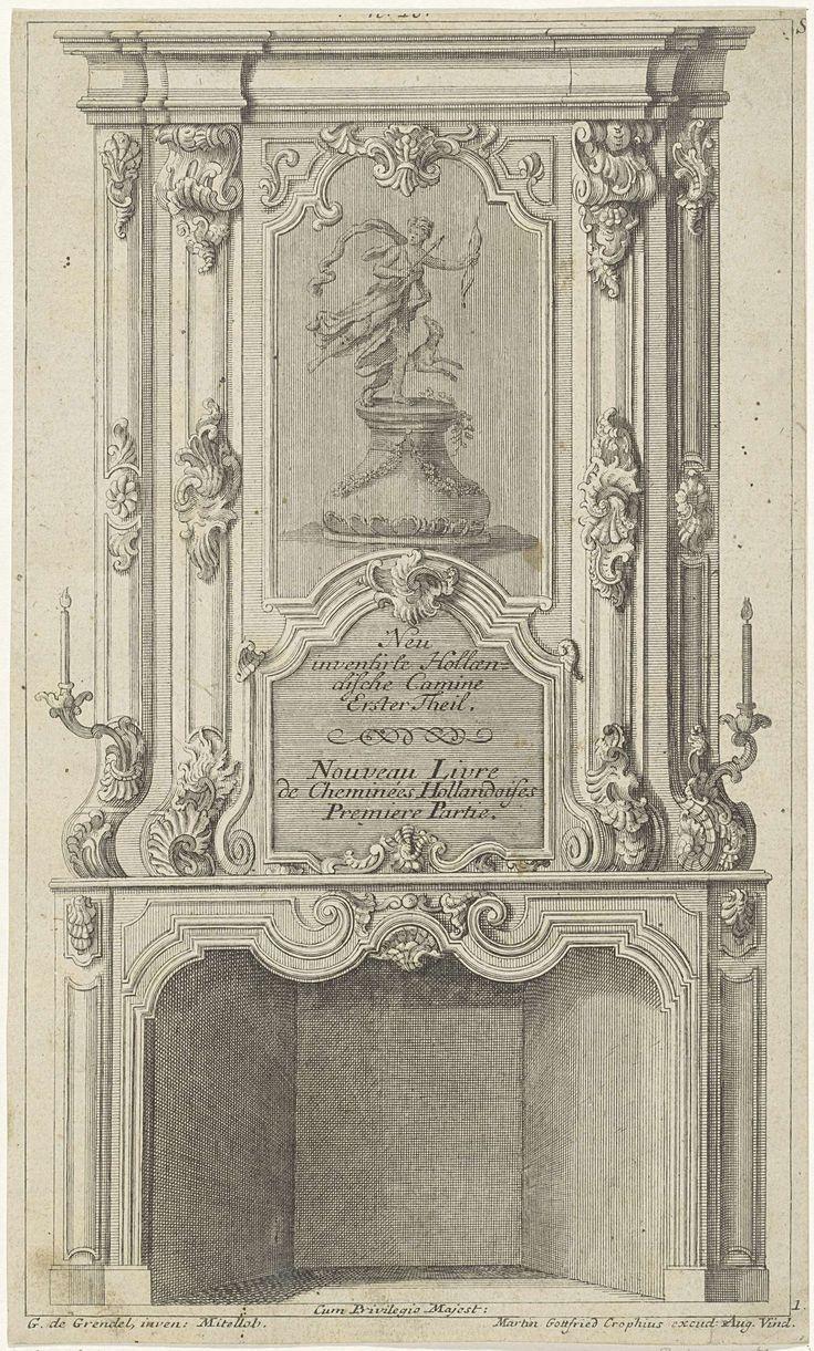 Anonymous | Ontwerp voor een schoorsteen met Diana als godin van de jacht, Anonymous, Martin Gottfried Crophius, unknown, 1732 - 1765 | Ontwerp voor een schoorsteen met een voorstelling van Diana met pijl en boog in de handen en een jachthond op een voetstuk. De schoorsteenmantel is versierd met rocailleornamenten en voluten. Aan weerzijden een kandelaar.