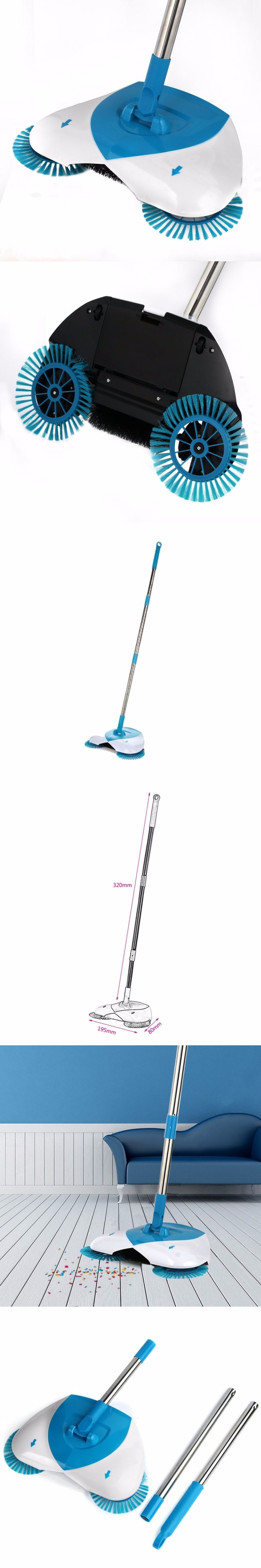 PREUP Spin Hand Push Broom Sweeper Household Dust Collector Floor Surface Cleaning Mop Adjustable Convenient Sweeping Supply Hot