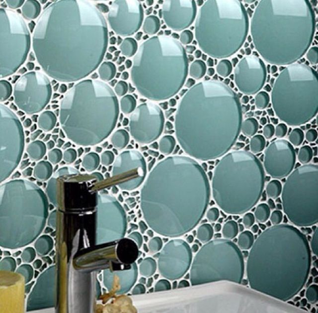 I love that the bubbles are domed and the way the grout lines are filled with crushed glass pieces it becomes almost a literal foam look