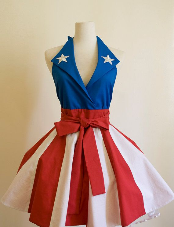 Look like one of the Captain America Pin Ups while entertaining this summer, you'll be the most popular girl at the BBQ! :: Pin Up Apron:: Captain America dancer apron:: Patriotic 4th of July apron
