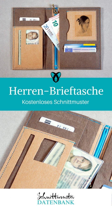 2380b76dd2803 Herren-Brieftasche Geldbörse Brieftasche Nähen mit Snap-Pap kostenlose  Schnittmuster Gratis-Nähanleitungen
