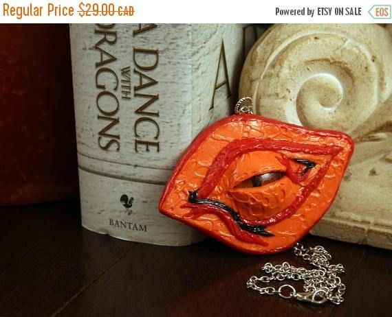 HOLIDAY SALE Dragon of the Firelands Eye Pendant Polymer Clay