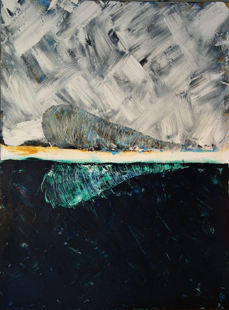 Jour et nuit : vie. Sujet imposé par une collègue artiste lors d'un atelier avec Nathalie St-Pierre. Dualité équilibrée, tourbillon, assise, force.