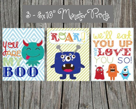 "3 Adorable Monster Art Prints - 8x10"" size for child's room: little boy's nursery or bedroom. Cute Monsters"